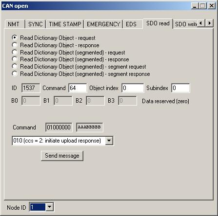 PP2CAN: CANopen SDO (Service data object) read